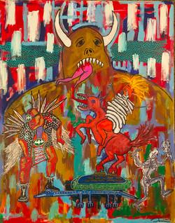 "Damian D. Costilla / ""Ahuiateteo Fiesta de Cena"" / Acrylic Paint On Canvas / 20x30 / $3500"
