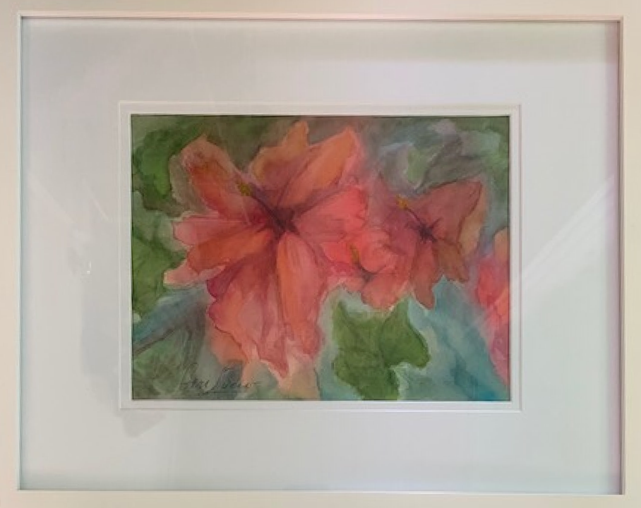 "Geri Lucio / ""Raspberry Hibiscus"" / Watercolor / 18x22 / NFS"