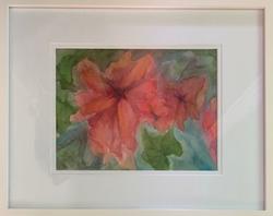 "Geri Lucio / ""Raspberry Hibiscus"" / Watercolor / 18x22 / NFS"