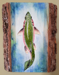 """Aubrey Sanchez / """"Catch and Release"""" / Engraved Mixed Media / 6x8 / NFS"""