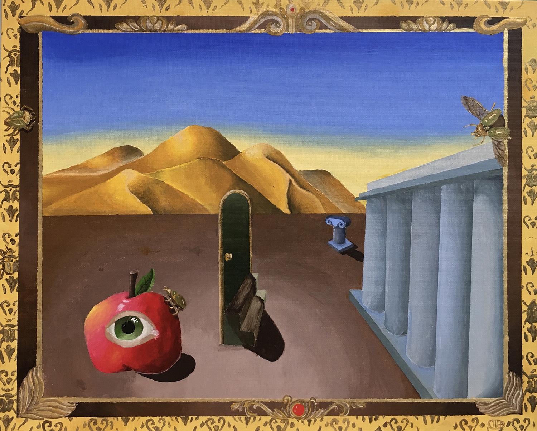 """Olga Vidaurri / """"Subtle Beetles"""" / Acrylic / 20x16 / $90"""