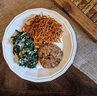 Sauteed Spinach, Salmon & Sweet Potatoes