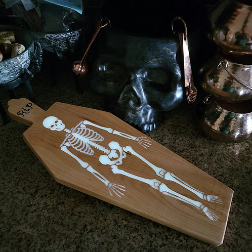 Skeleton Coffin Cheese Board