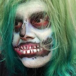Fun airbrush zombie on _johnnydoesitbestt. Then I covered him in glitter