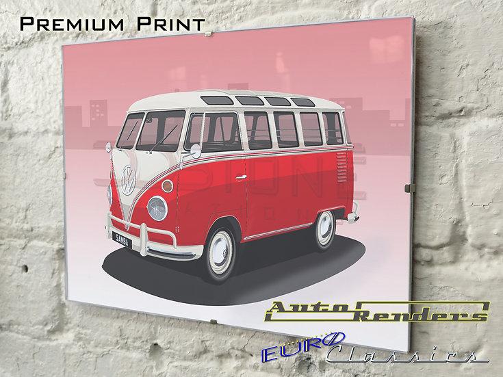 VW Type 2 Microbus Samba T1 on Premium Poster - 12x8 to 45x30