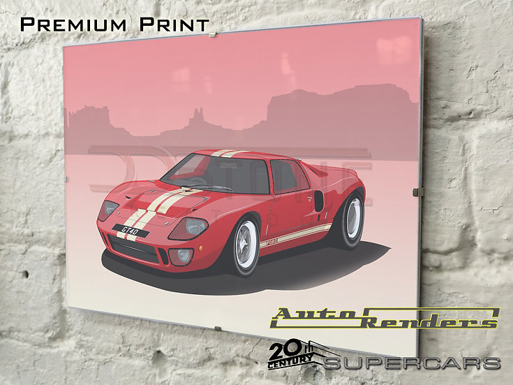 Ford GT40 Mk1 on Premium Poster - 12x8 to 45x30