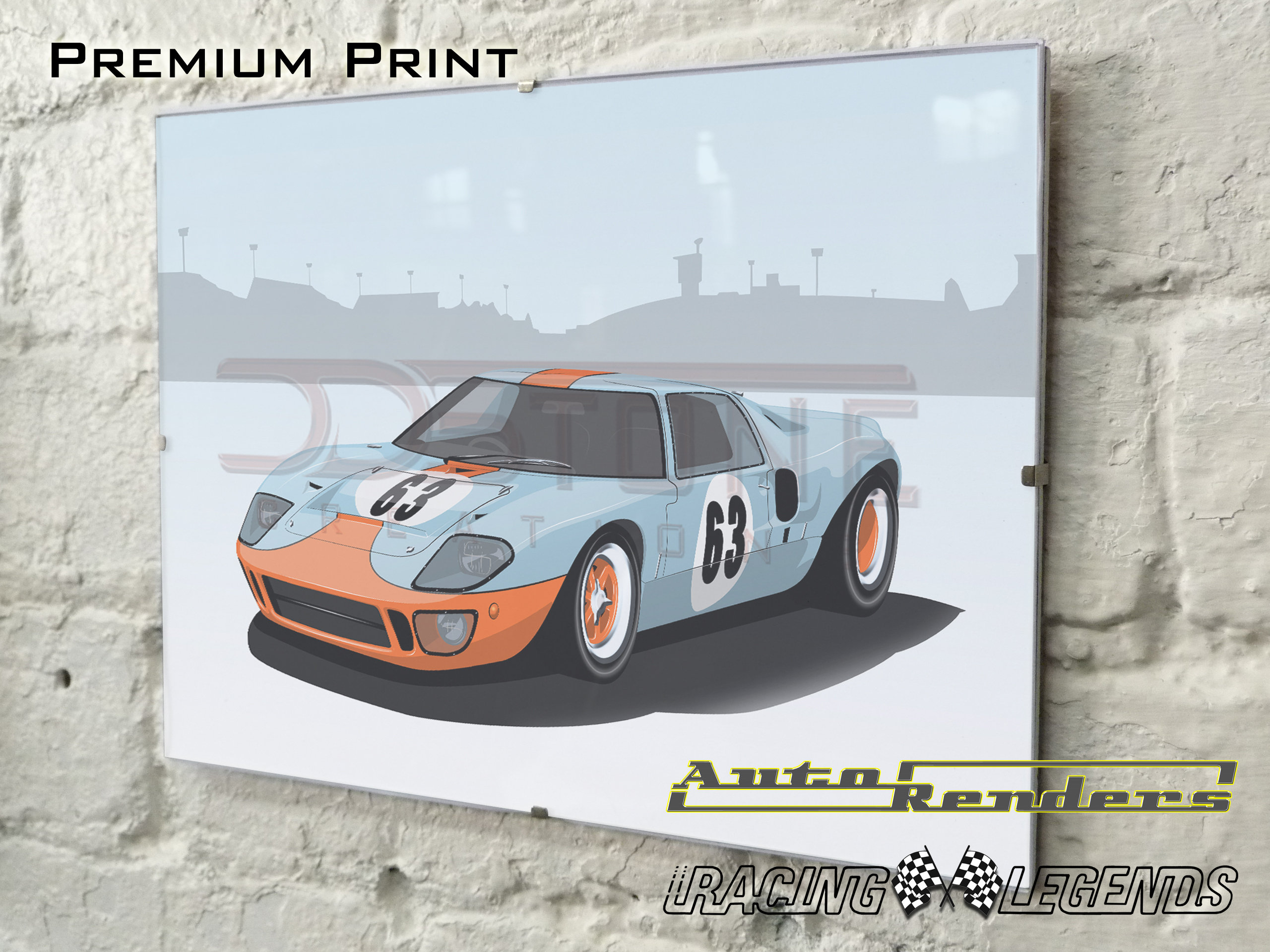 Gulf Ford GT40 Mk1 on Premium Poster - 12x8 to 45x30