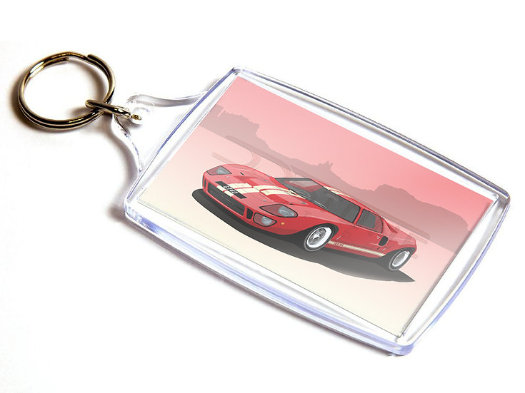 Ford GT40 Mk1 Road Car on Double Sided Keyring - 60x40mm