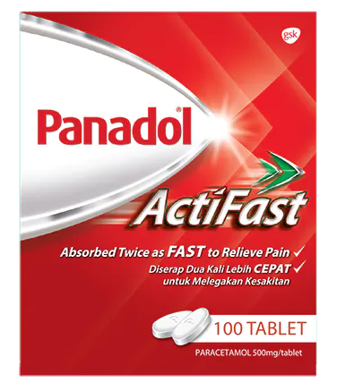 Panadol Actifast Caplets 100's | Fever, Headache, Cold & Flu