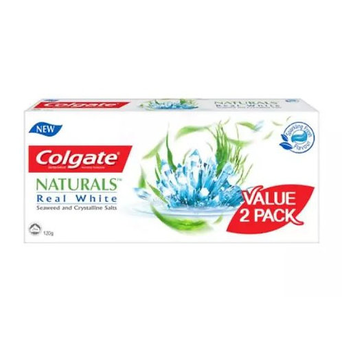 Colgate Natural Anticavity Toothpaste Twin Pack (2 x 120g) Real White | Dental Health