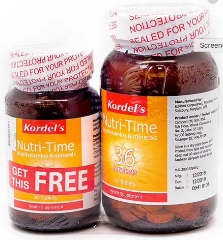 Kordel's Nutri-Time Multivitamins & Minerals (90S+30S) - General Health