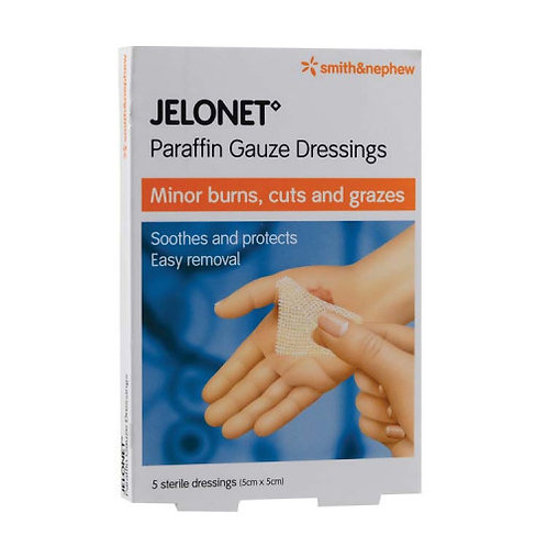 Smith & Nephew JELONET Paraffin Gauze Dressings 5cm x 5cm 5s