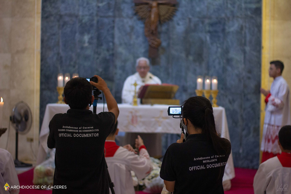 Official Documentors of the Archdiocese of Caceres during the 2020 World Communications Sunday Pontifical Concelebrated Mass. (CCCom Photo by Vince Carlo Puno)