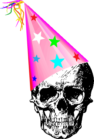 image of a skull in a party hat