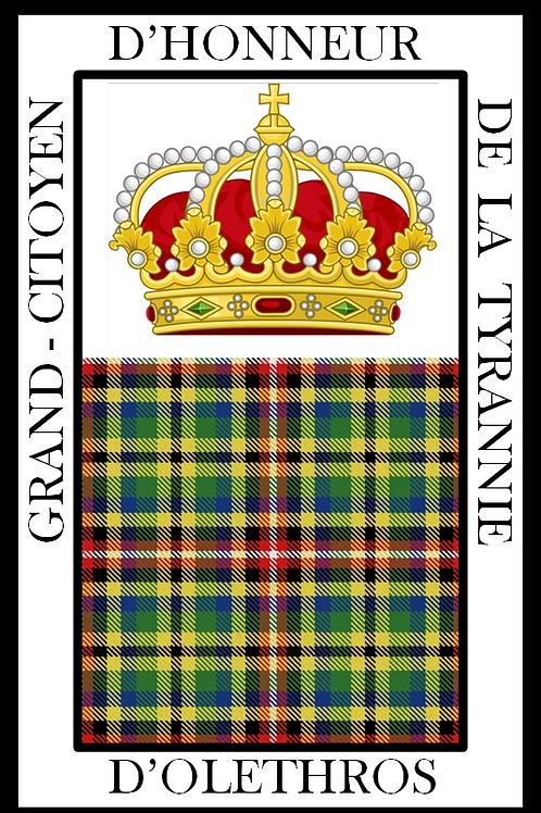 Diplôme de Grand-Citoyen d'Honneur d'Olethros