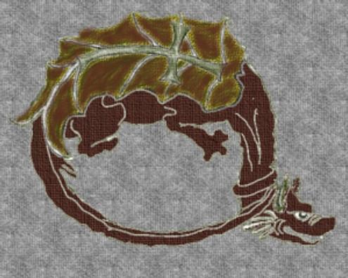 Simbolo dell'Ordine del Drago: il drago che forma un cerchio rimanda all'Uroboros alchemico, ciò le forze subnaturali domate. Simbolicamente è anche rimarcato dall'avere una spada posta sopra le ali.