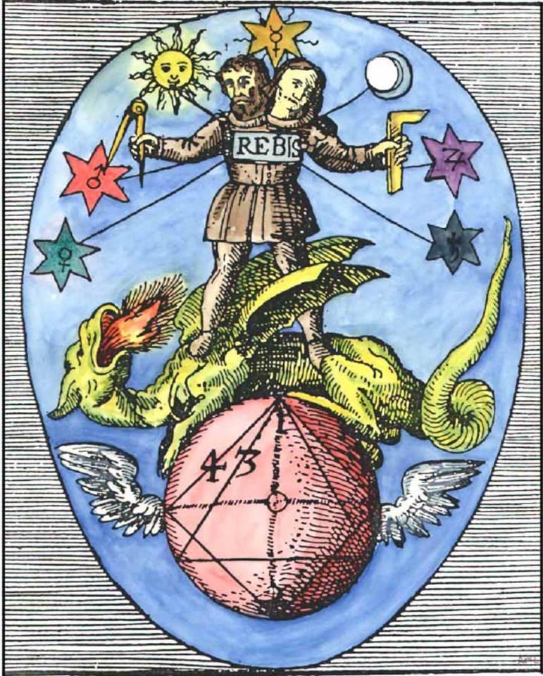 Il Rebis della quinta immagine dall'Azoth di Basilio Valentino (1624).
