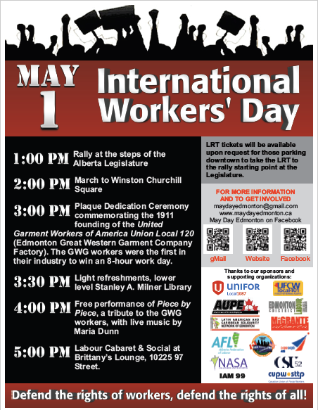 May Day in Edmonton Schedule