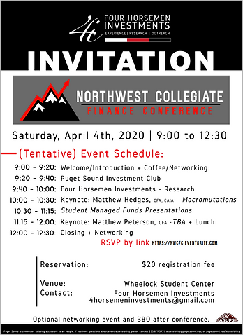 Northwest Finance Conference Invitation.