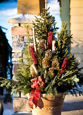 Custom Christmas Planters.  Made with Fraser Fir, Pine, Cedar, Spruce tops, real pine cones, and Birch branches.