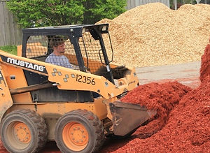 Bulk landscape materials available for pickup or delivery.  Mulch, topsoil, Purple Cow, mushroom compost, gravel, sand and more.
