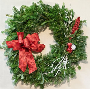 "Beautiful Fraser Fir wreaths 16"" to 60"".  All made right here in New Berlin.  Fresh evergreen garland."