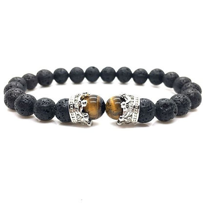 Crowned Eye of Tiger and Lava Stone Braided Bracelet