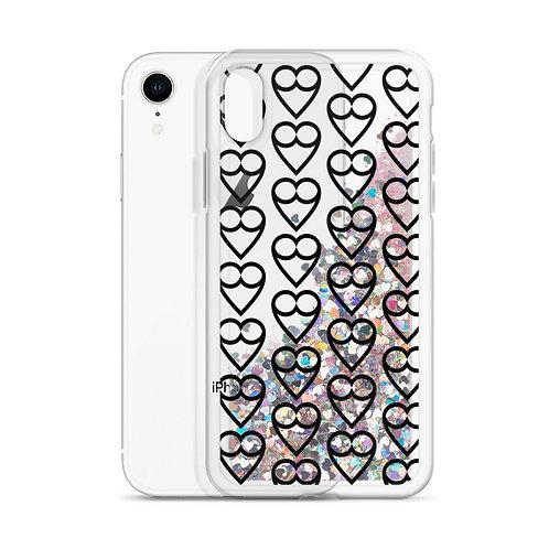 Black HEART Liquid Glitter Phone Case