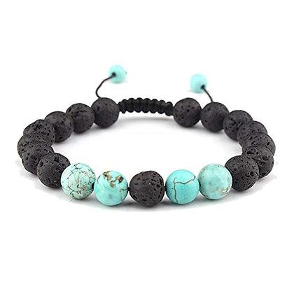 Adjustable Anxiety Lava Stone Bracelet W/Turquoise Stones