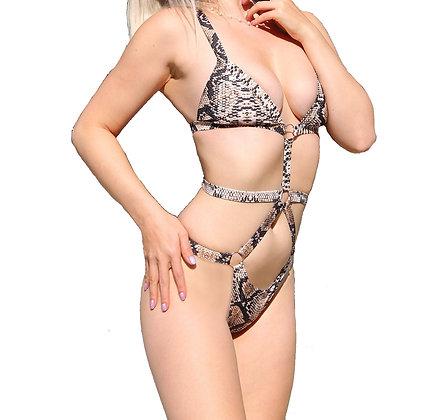 Bandage One-Piece Snakeskin Swimwear