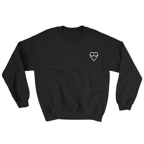 HEART Unisex BLACK Sweatshirt (embroidered)