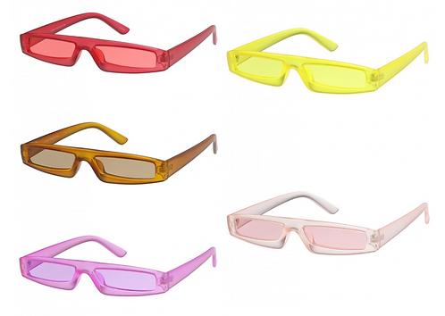 Futuristic Small Matte Rectangle Color Tinted Lens Sunglasses