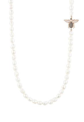 Honey Bee Pearl Gemstone Long Necklace Rosegold