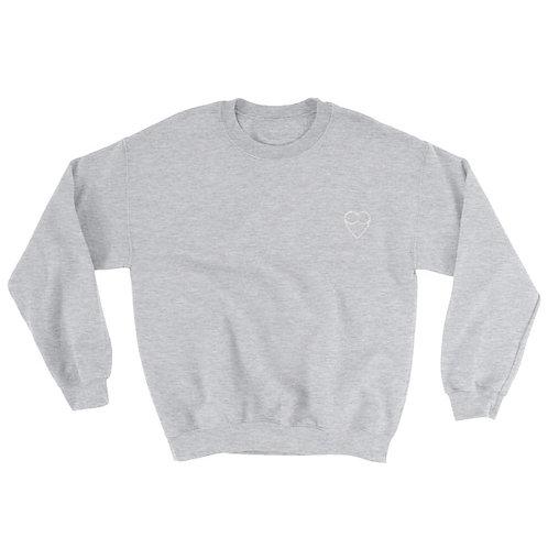 HEART Unisex GREY Sweatshirt (embroidered)
