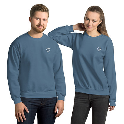 White HEART Unisex Sweatshirt (embroidered)