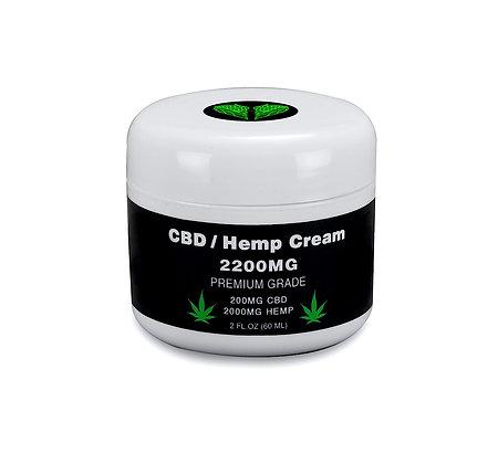 CBD / Hemp Oil Cream - Premium Grade - 100% Natural - 200MG CBD - 2000MG Hemp