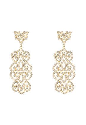 Regal Rose Statement Drop Earrings White Gold