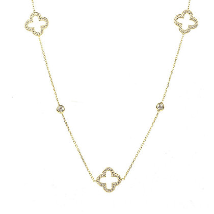 Open Clover Long Necklace Gold