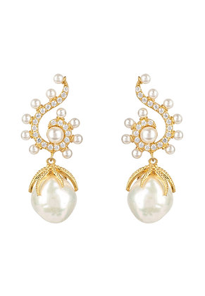 Baroque Pearl Poseidon Gemstone Drop Earrings White Gold