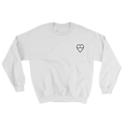 HEART Unisex WHITE Sweatshirt (embroidered)