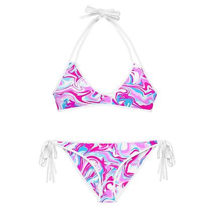 PINK BLEU MARBLE  Reversible Bikini Set