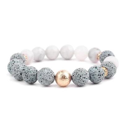 Lava Stone Bracelet - Agate Gold