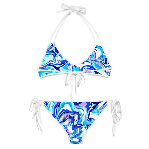 BLEU MARBLE  Reversible Bikini Set