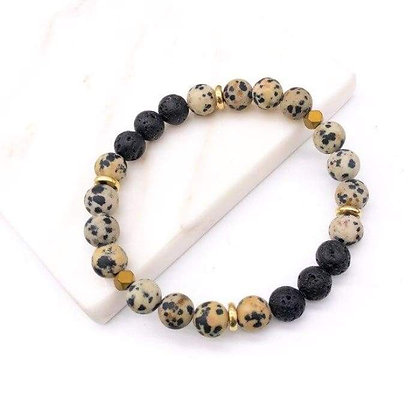 Polka Dotted Lava Stone Bracelet
