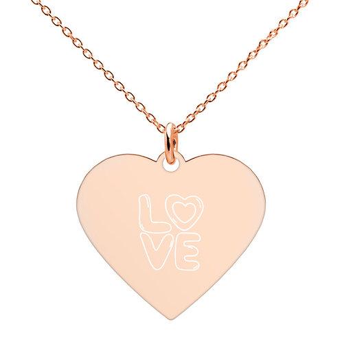 LOVE 3 Engraved Heart Necklace (18K rose gold, 24K gold coating)