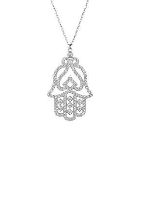 Large Hand of Fatima Filigree Hamsa Necklace Silver