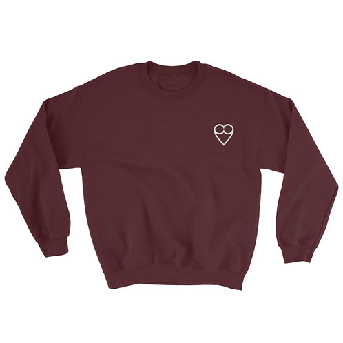 HEART Unisex MAROON Sweatshirt (embroidered)