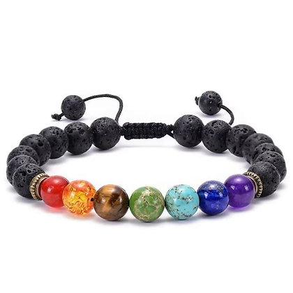 7 Chakra and Lava Stones Braided Bracelet