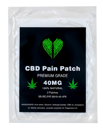 CBD Pain Patch - Premium Grade - 40mg CBD - 100% Natural - Pack of 4 Patches