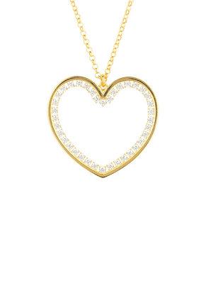 Heart Large Pendant Drop Necklace Gold